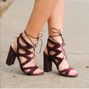 Purple lace up/ tie up stewpot sandals